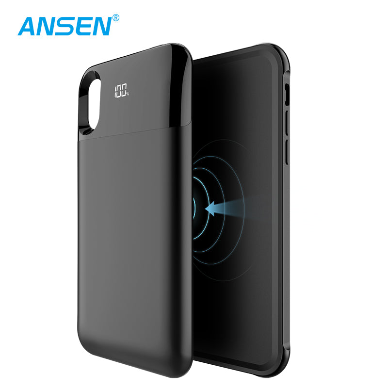 ANSEN WIRELESS BATTERY CHARGING CASE FOR IPHONE XS 5000MAH FAST CHARGING POWER BANK CASE FOR IPHONE XS 5000MAH BLACK