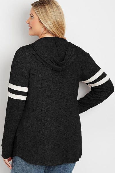 Black Plus Size Long Sleeve Pul Hoodie