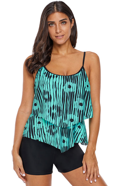 Abstract Print Flowy Layered Tankini Top