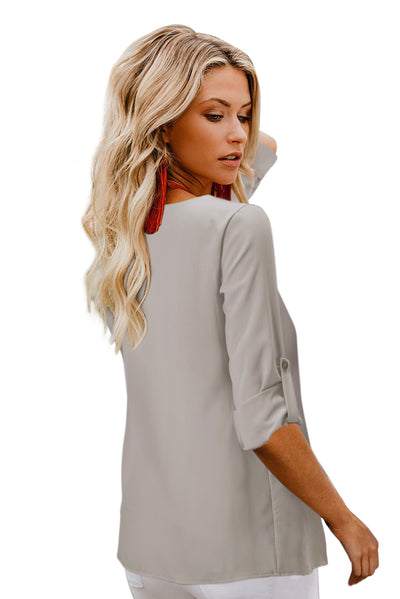 Apricot Button Detail Roll up Sleeve Blouse