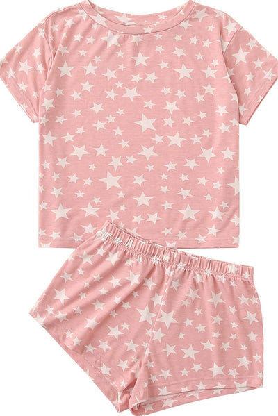 Pink Star Print Home Pajamas Set