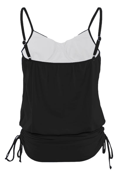 Black Spaghetti Strap Tankini Swim Top