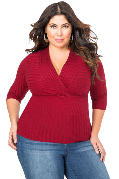 Red Deep V Fitted Rubbed Knit Plus Size Top