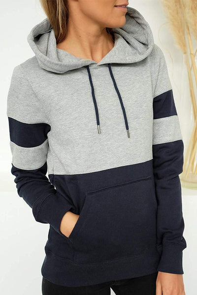 Blue Color Block Long Sleeve Crewneck Pul Hoodie