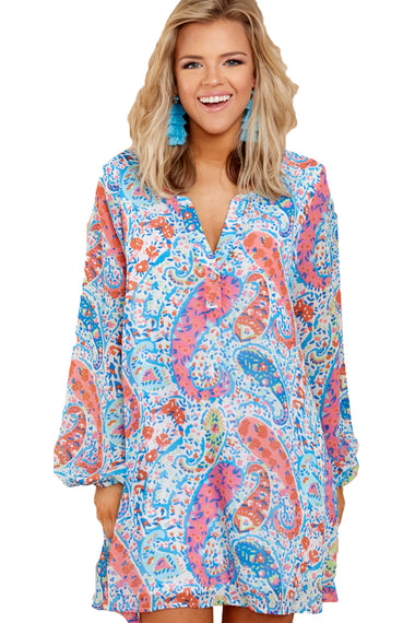Abstract Fish Print V Neck Chiffon Dress