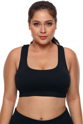 Black Plus Size Racerback U-shaped Neck Sport Bra