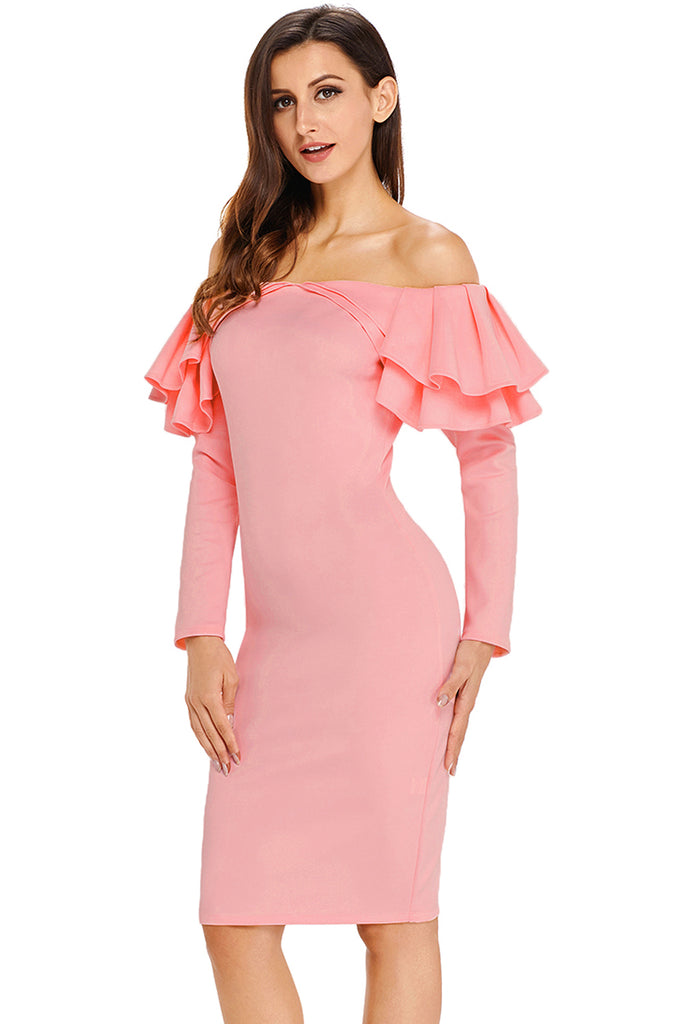 Pink Ruffle Off The Shoulder Long Sleeve Bodycon Dress