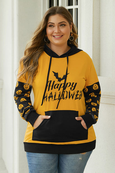 Banded Long Sleeve Kangaroo Pocket Halloween Plus Size Hoodie