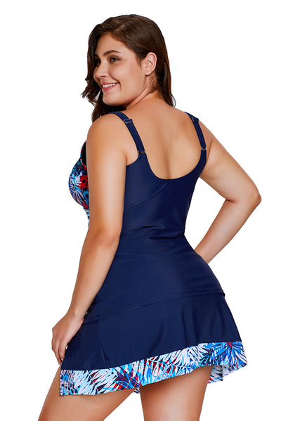 2pcs Tropical Print Detail Navy Blue Bathing Suit | Women Clothing Qatar