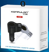 KONFULON 2IN1 CAR CHARGER WITH CIGARETTE LIGHTER SOCKET MODEL NO C39
