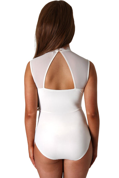 White Lace High Neck Cut Out Back Bodysuit