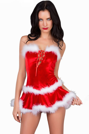 3pcs Maribou Trim Santa Costume