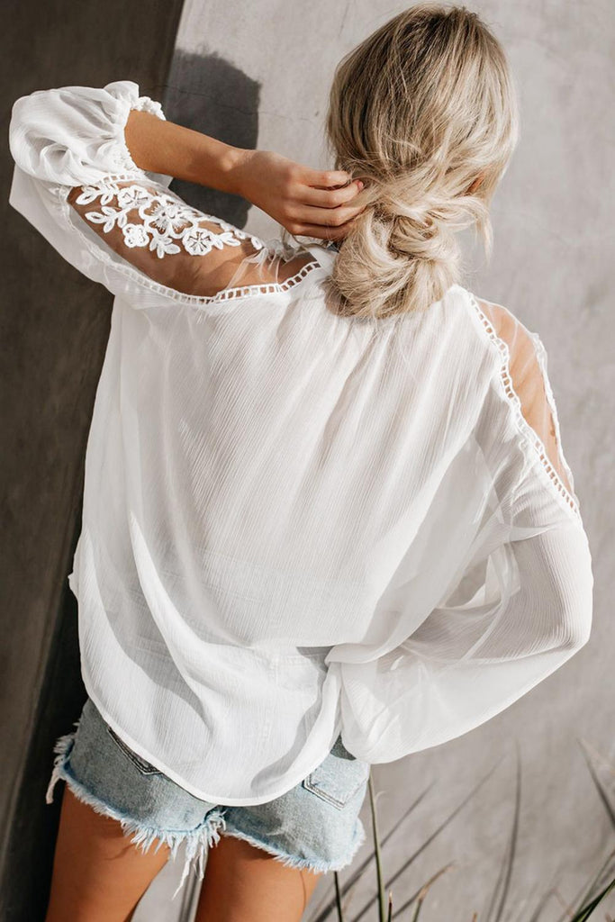 White Formal Invitation Lace Blouse