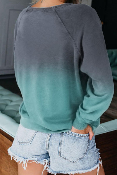Blue Ombre Crewneck Long Sleeve Sweatshirt
