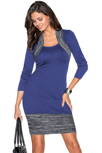 Blue Feminine Knit Dress with Contrasting Color