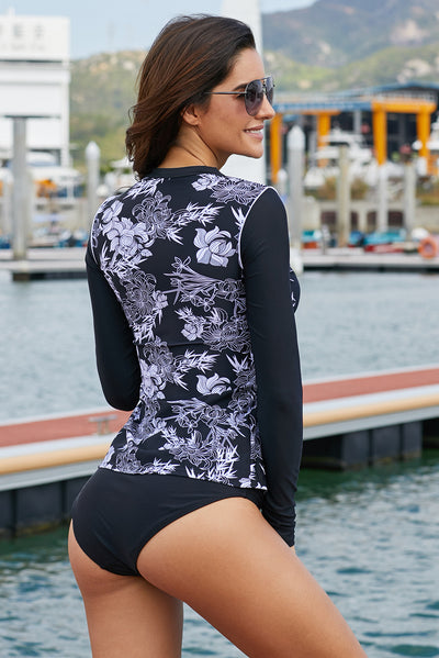 Black White Artistic Lotus Print Long Sleeve Rashguard Top