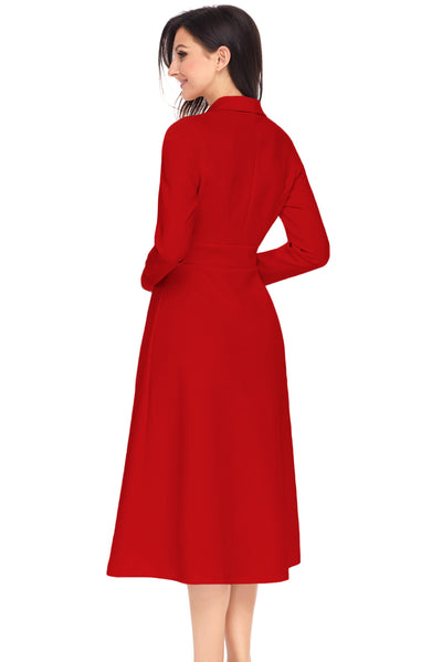 Red Vintage Button Collared Fit-and-flare Dress