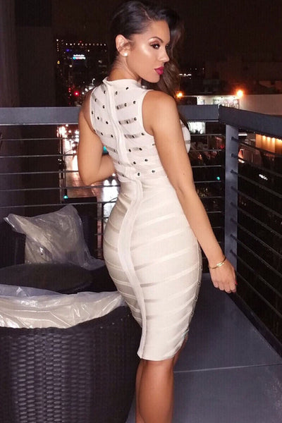 Apricot Studded Bandage Dress