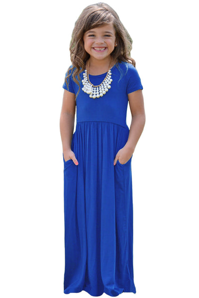 Cobalt Blue Short Sleeve Pocket Design Girls Maxi Dress