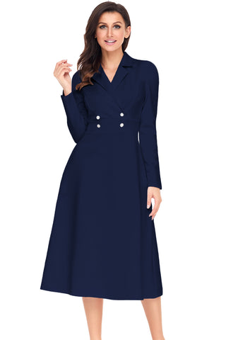 Navy Vintage Button Collared Fit-and-flare Dress