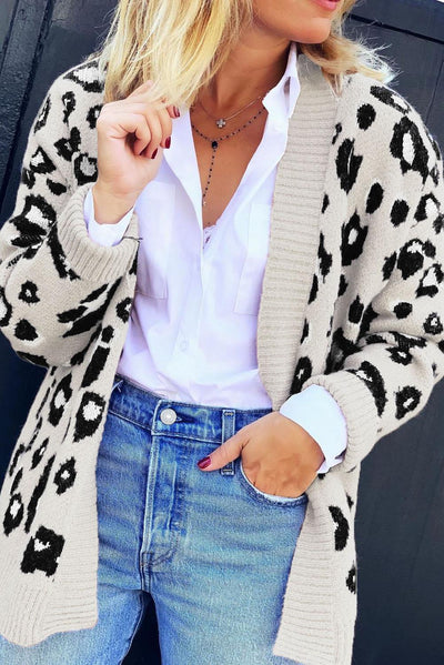 Beige Long Sleeves Leopard Print Knitting Cardigan