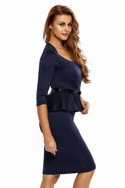Dark Blue Long Sleeve Belted Peplum Midi Dress