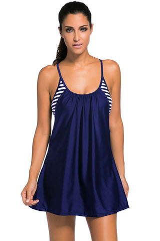 Navy Flowing Swim Dress Layered 1pc Tankini Top