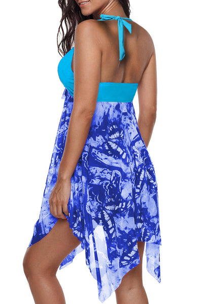 Sky Blue Handkerchief Hem Detail Swimdress and Shorts