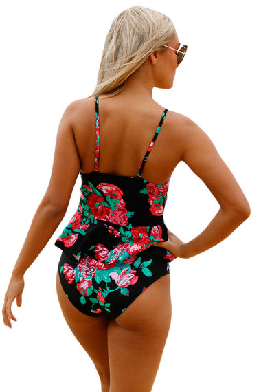 2pcs Floral Print Black Flounce Tankini Swimsuit | Women Clothing Qatar