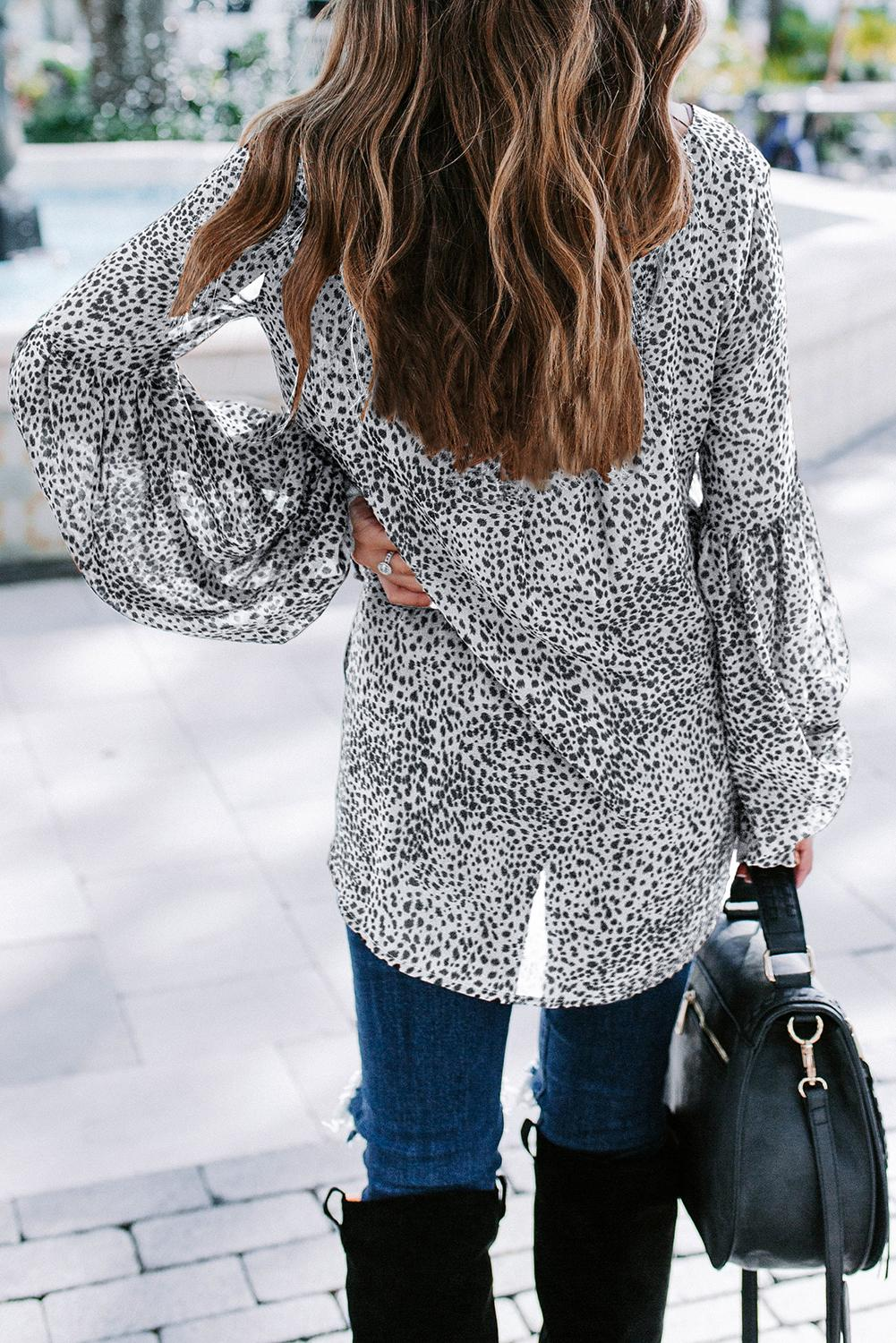 White Lantern Sleeve Lace Up Blouse