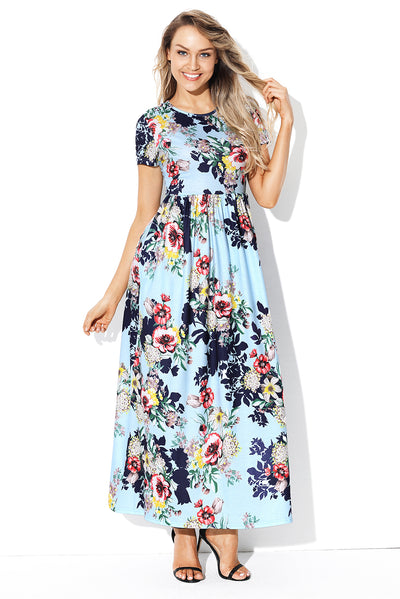Pocket Design Short Sleeve Light Blue Floral Maxi Dress