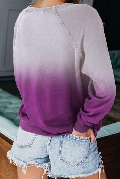 Purple Ombre Crewneck Long Sleeve Sweatshirt