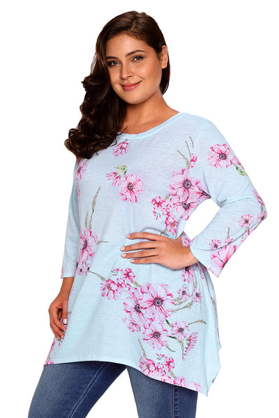 Grey Asymmetric Cut Floral Plus Size Top
