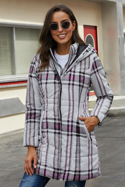 Gray Vintage Plaid Cotton Quilted Trench Coat