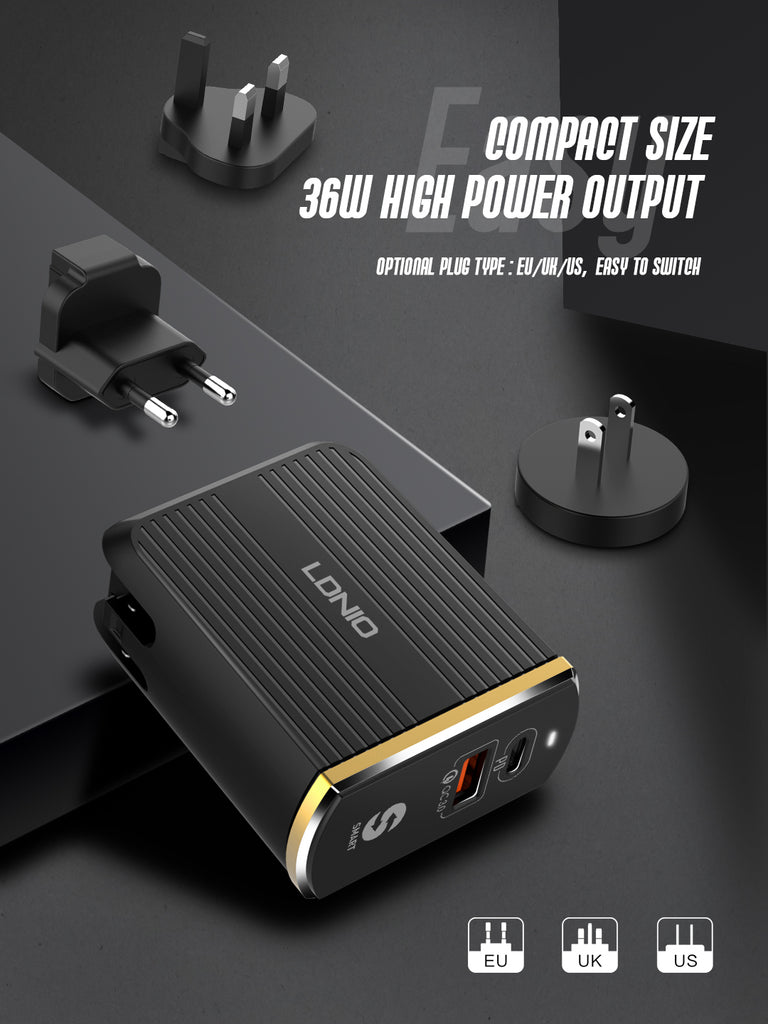LDNIO A2502C PD+QC3.0 DUAL MODE FAST HOME CHARGER FOR IPHONE XR SAMSUNG