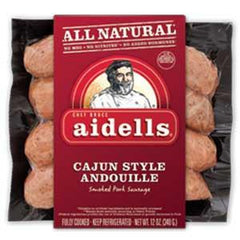 AIDELLS ALL NATURAL CAJUN STYLE ANDOUILLE SMOKED PORK SAUSAGE
