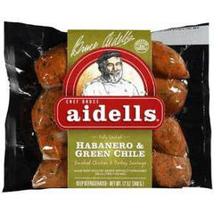 AIDELLS ALL NATURAL HABANERO & GREEN CHILE SMOKED CHICKEN SAUSAGE