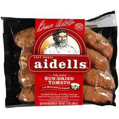 AIDELLS ALL NATURAL SUN DRIED TOMATO SMOKED CHICKEN SAUSAGE