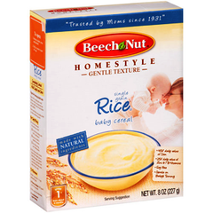 BEECH NUT RICE BABY CEREAL SINGLE GRAIN