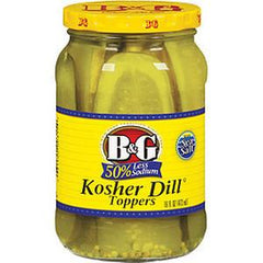 B&G PICKLES KOSHER DILL TOPPERS 50% LESS SODIUM