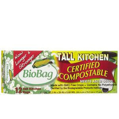 BIO BAG TALL KITCHEN BAGS CERTIFIED COMPOSTABLE 13 GALLONS