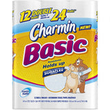 CHARMIN BASIC 12 PACK - 12 DOUBLE = MORE THAN 24 REGULAR ROLLS