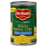 DEL MONTE 50% LESS SODIUM WHOLE KERNEL CORN