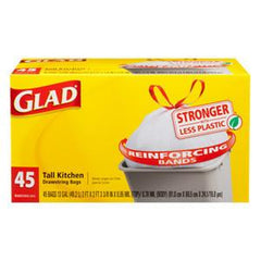 GLAD CLEAR KITCHEN DRAWSTRING BAGS - 13 GALLONS