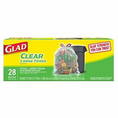 GLAD CLEAR LARGE TRASH DRAWSTRING BAGS - 30 GALLONS