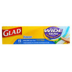 GLAD FREEZER   EXTRA WIDE SEAL ZIPPER BAGS 1 GALLON SIZE