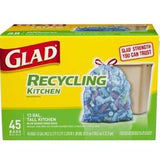 GLAD RECYCLING TALL KITCHEN BLUE DRAWSTRING BAGS - 13 GALLONS
