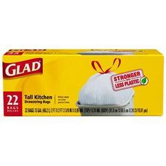 GLAD STRONGER   WITH LESS PLASTIC TALL KITCHEN DRAWSTRING BAGS 13 GALLON