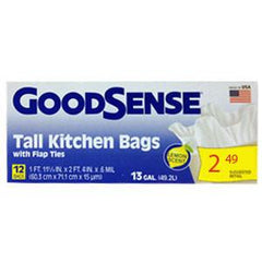 GOODSENSE TALL KITCHEN BAG WITH FLAP TIES LEMON SCENT - 13 GALLONS