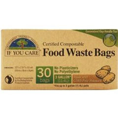 IF YOU CARE FOOD WASTE BAGS FLAT HANDLE TIES - 3 GALLONS